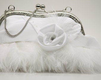 Bridal Purse, Winter Wedding Purse, White Feather Clutch Purse (Frogfeathers)