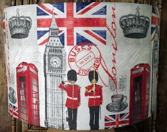 London Lampshade Retro Hip  City lamp shade light shade  red white blue union jack