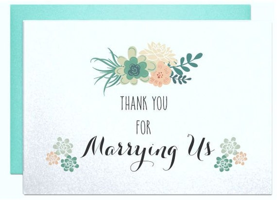 ... wedding gift, wedding thank you card for officiant, card for friend