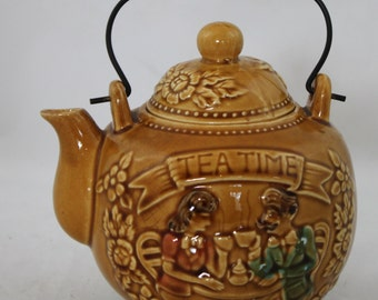"Vintage Gold ""Tea Time"" Teapot from Japan"