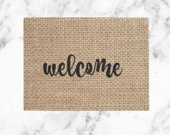 Welcome Burlap Doormat