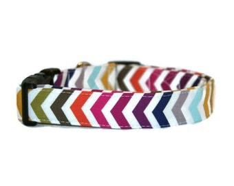 Multi Color Chevron Dog Collar
