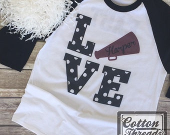 Personalized Cheer Raglan,  Cheerleader Baseball Shirt, Personalized Megaphone
