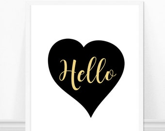 Hello Print - Black Heart - Handwritten Typography Print - Black and White Art