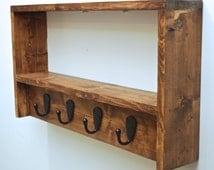 Rustic Coat Rack, Entryway Coat Rack and Shelf, Two Tier Foyer Shelf