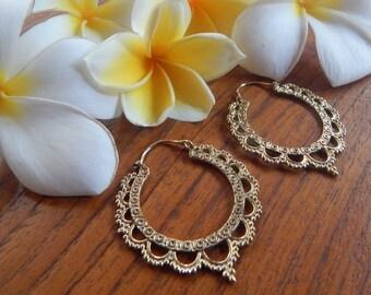 Brass Earrings, Hoop Earrings, Tribal Jewelry, Ethnic Jewelry, Bohemian, Gypsy