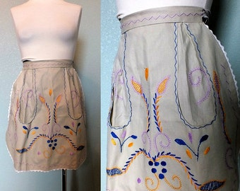 Vintage 60's Embroidered Half Apron Cotton Hostess Apron Floral Applique With Pocket Made in Portugal