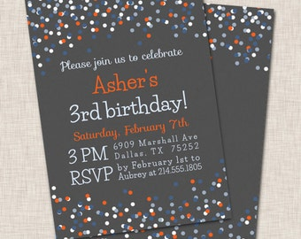 Birthday Party Invitation, boy birthday invitation, boy birthday party invite, blue and orange invitation, falling confetti invitation (032)