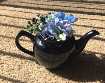 Blue Teapot with Flowers