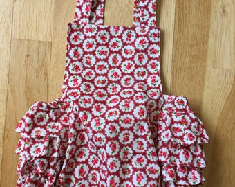 Vintage style baby girl frilly romper. Hand made. Sizes available 1 month up to 18 months