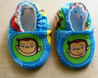 Handmade Curious George inspired Baby Shoes