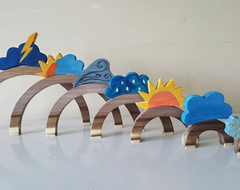 Weather toy, wooden weather toys, weather toppers, montessori inspired weather symbols, waldorf inspired