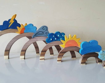 Weather toppers, rainbow not included, Weather toy, wooden weather toys, Climate change, montessori inspired symbols, waldorf inspired