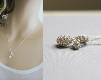 Bridal Necklace Crystal Bridesmaid Necklace Wedding Jewelry for Brides Drop Rhinestone Bridesmaid Jewelry Set of 2 3 5 7 Sterling Silver
