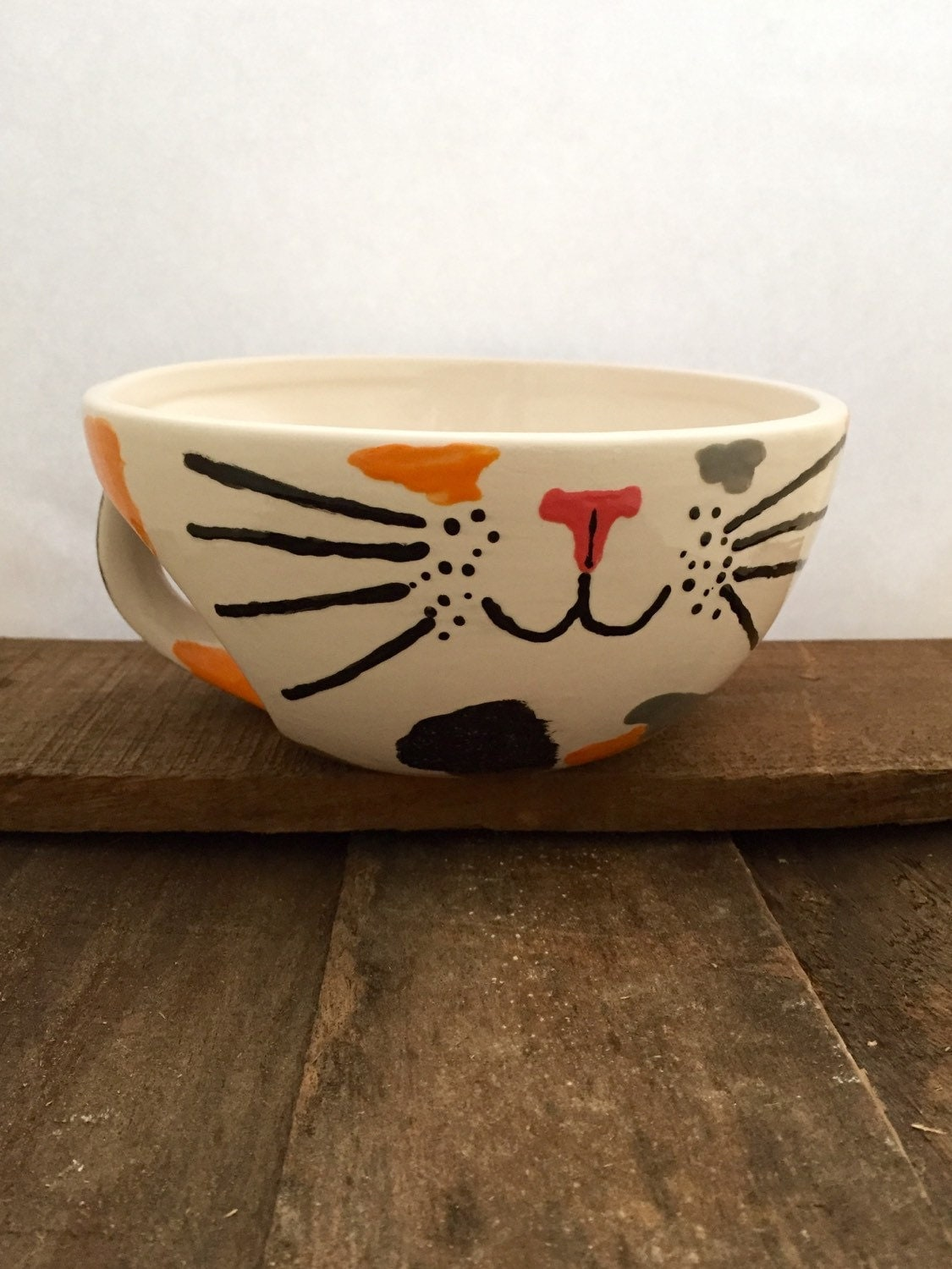 Cat Bowl With Handle Calico Cat Face Bowl Cat Soup Bowl Cat