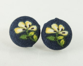 Yellow and blue floral fabric button earrings