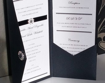 Formal | Black Tie | Diamante | Pocketfold | Wedding Invitation