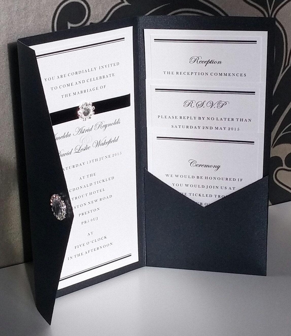 Black Tie Wedding Invitation Wording: Formal Black Tie Diamante Pocketfold Wedding