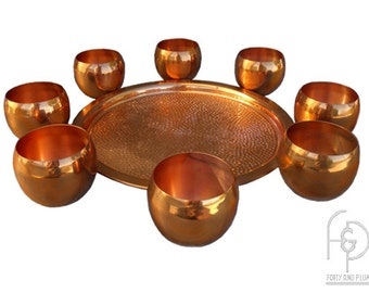 Coppercraft Guild Copper Roly Poly Cups and Hobnail Serving Tray