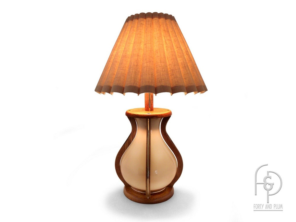 Oak And Glass Table Lamps: 70's Bulb Shaped Table Lamp Oak Brass And Glass Glass