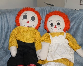 SALE Vintage, About 38 Inches Long, Extra Large Raggedy & Andy Dolls, Handmade, Perfect for Pretend Play, Children, Toys, Dolls, NICE