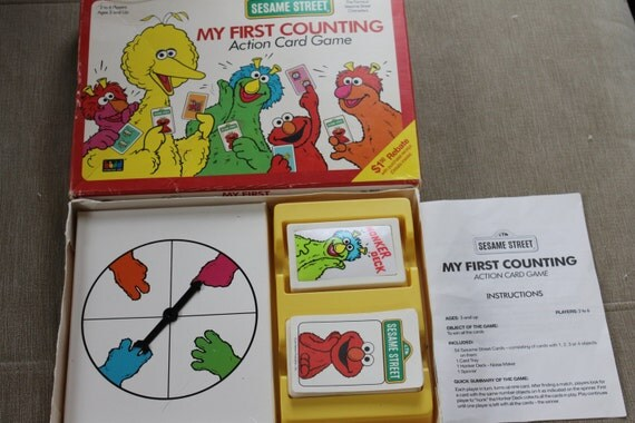 sesame street my first counting board game action card game. Black Bedroom Furniture Sets. Home Design Ideas