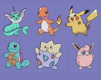embroidery design 6 set cute Pokemon pes hus jef dst vip exp vp3 4x4