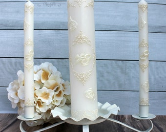 Wedding Unity Candle Set with or without a base