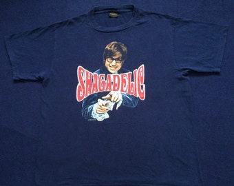 ON SALE 25% Vintage Austin Powers Shagadelic Shall We Shag Now or Shag Later 90s T shirt