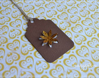 Christmas gift tag, label Tags 6 Golden Flower
