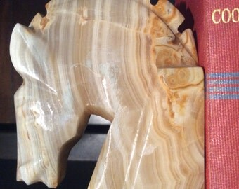 Onyx Horse Head Bookends Pair of Horse Onyx Sculpture Heavy Stone Bookends Equestrian Collectible Horse Lovers Office or Library Decor