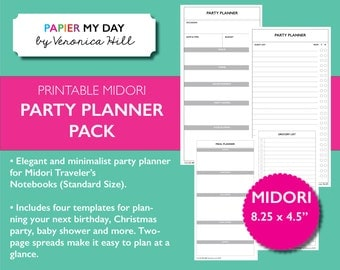 Midori Traveler's Notebook Party Planner - Party Planning Pack for Travelers Notebooks - Midori Standard Size Printable