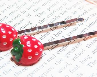 Strawberry Bobby Pin - Fruit Bobby Pin - Strawberry Hair Pins - Foodie Bobby Pins - Foodie Hair Pins- Food Bobby Pins