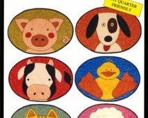 FARM PLACEMATS Quilted Patterns by Little Quilt Co.  cow pig cat dog lamb duck