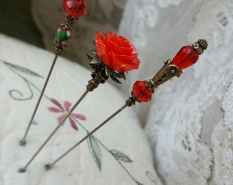 Victorian Antique Inspired Hat Pins Vintage Style Rose Beads, Glass Faceted Beads, Brass Findings. 3 Hatpin Lot! STURDY! Display Or Use.