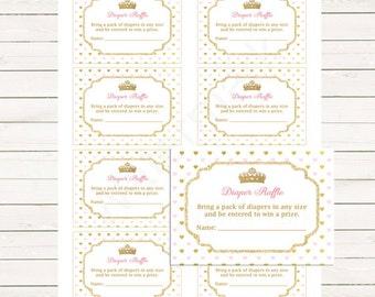 Pink Gold Princess Baby Shower Diaper Raffle Tickets, Princess Baby Shower Diaper Raffle Insert Card, Instant Download PDF Printable