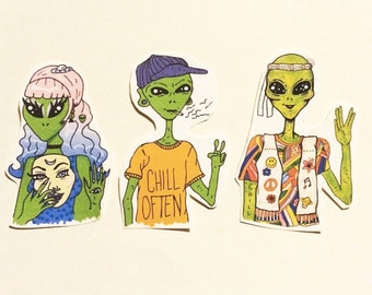 Chill Often Alien Stickers Trippy Hippy Fun
