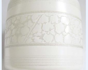 Vintage Glass Light Shade Frosted White Striped abstract 50s 60s Kitsch Retro