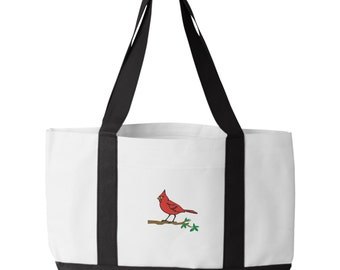 Cardinal Bird Tote Bag. Embroidered Cardinal Bird Tote. Cardinal Tote Bag. Animal Lover Tote. Cardinal Bird Tote Bag. Bird Bag.  7002