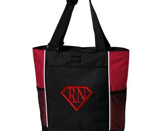 Rn Super Nurse Zippered Tote Bag - Monogrammed. Embroidered Nurse Tote Bag. Nurse Gift. RN Tote. LPN Tote. SM-B5160