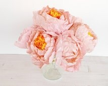 Five pieces of light pink paper peonies, Paper flower peonies, paper peonies, pink peony, handmade flowers