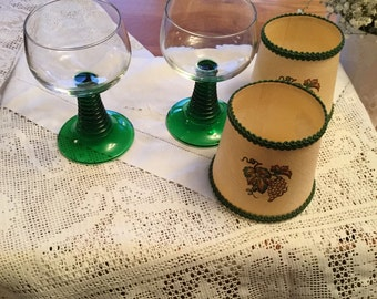 Vintage wine glasses and lamp shades.