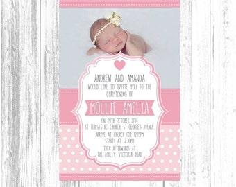 Digital Girls pale pink Polka Dots Portrait Christening Baptism invitation