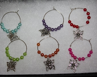 6 butterfly wine glass charms