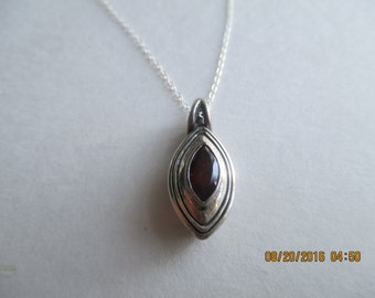 Garnet Necklace...Sterling Silver..Great Look..New