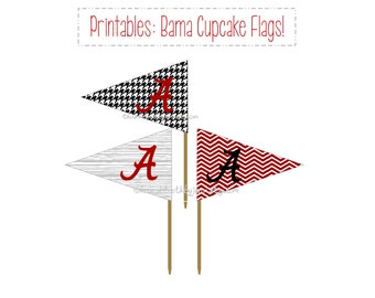 ALABAMA Tailgate Party Picks: PRINTABLES! University of Alabama Crimson Tide cupcake toppers DIY download