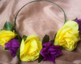 Flower Crown Mardis Gras Headband Purple Yellow Floral Hair Wreath Rose Floral Halo