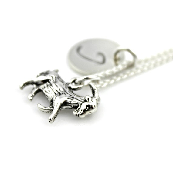 goat initial charm necklace personalized in sterling silver