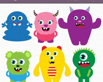 Cute Monsters Clipart Digital Art Set Commercial Use Clip Art INSTANT DOWNLOAD Monster Clipart Set 2