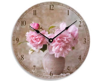 Vintage floral design 10 inch wall or kitchen clock. Pink flowers in a vase impressionist image. CL3278